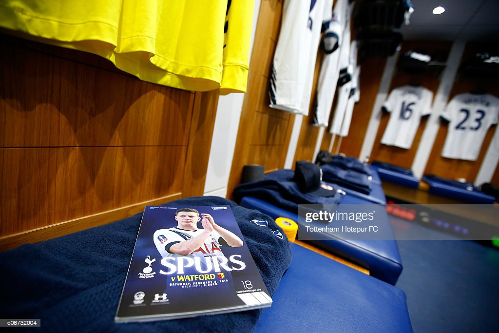 A programme on display as Spurs shirts hang in the changing room prior to the Barclays Premier League match between Tottenham Hotspur and Watford at White Hart Lane on February 6, 2016 in London, England.
