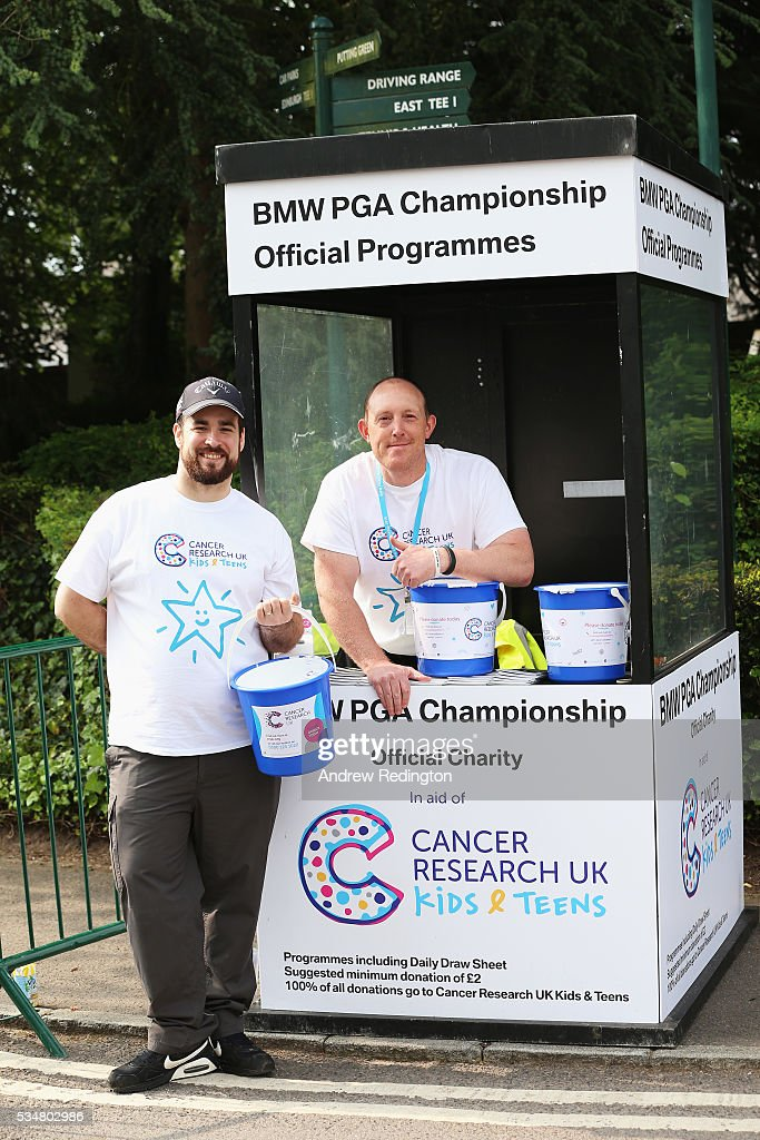 Programme sellers pose during day three of the BMW PGA Championship at Wentworth on May 28, 2016 in Virginia Water, England.