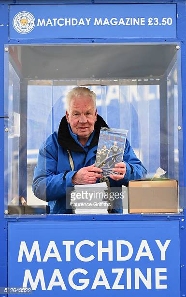 Programme vendor outside the stadium prior to the Barclays Premier League match between Leicester City and Norwich City at The King Power Stadium on...