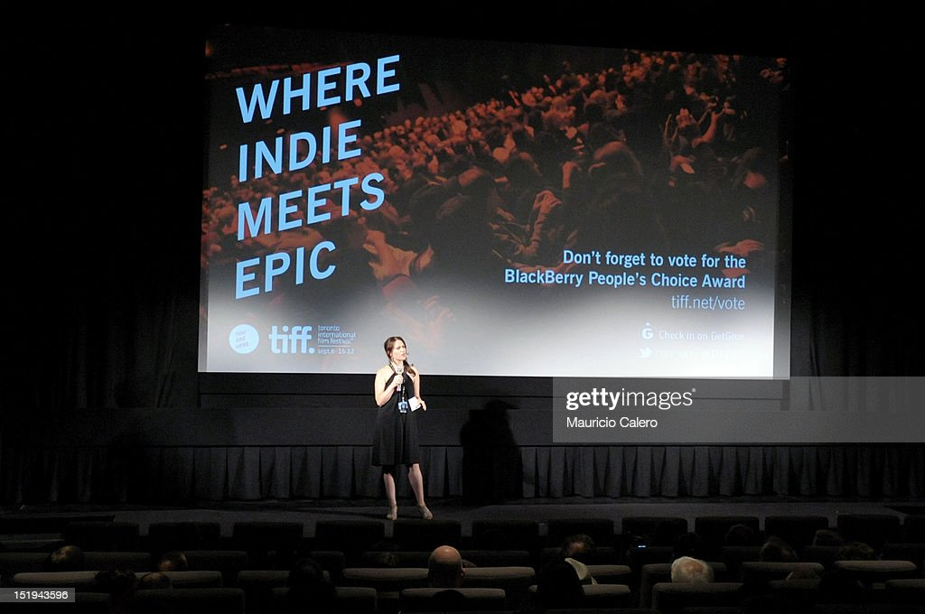 Programmer Andrea Picard speaks onstage at the 'The Capsule' premiere during the 2012 Toronto International Film Festival at TIFF Bell Lightbox on September 12, 2012 in Toronto, Canada.