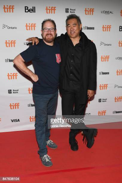 TIFF programmer Colin Geddes and director Ryuhei Kitamura attend the 'Downrange' premiere during the 2017 Toronto International Film Festival at...