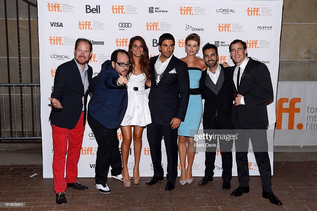 TIFF programmer Colin Geddes writer/director Nicolás López actors Lorenza Izzo Eli Roth Andrea Osvárt Matias Lopez and Ariel Levy attend the...