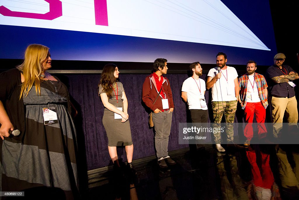 Programmer Drea Clark and filmmakers Claire Marie Vogel, Carlos Lopez Estrada, Devon Gibbs, Tomas Whitmore, Brandon Ray and Pat Kondelis speak onstage at Eclectic Mix 1 during the 2014 Los Angeles Film Festival at Regal Cinemas L.A. Live on June 13, 2014 in Los Angeles, California.