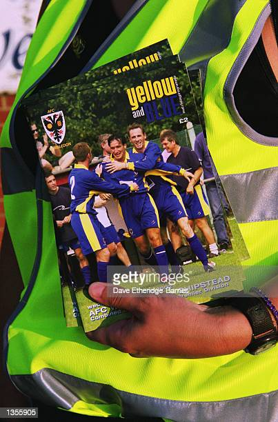 Programmes for sale outside the the Combined Counties League match between AFC Wimbledon and Chipstead at the Kingsmeadow Stadium in Kingston England...