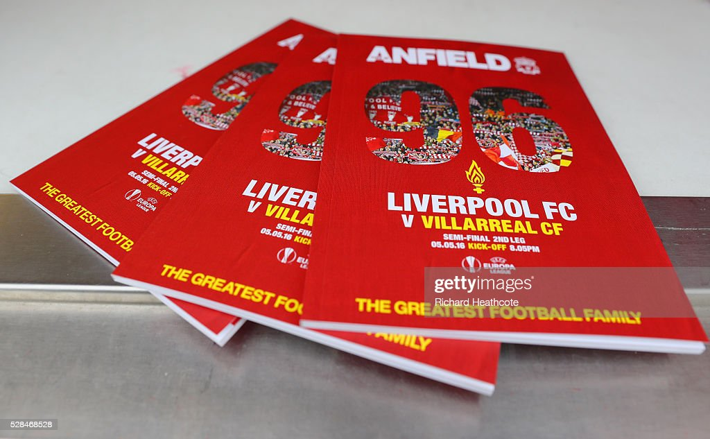 Programmes for sale prior to the UEFA Europa League semi final second leg match between Liverpool and Villarreal CF at Anfield on May 5, 2016 in Liverpool, England.