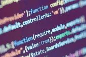 Programmer Developer Screen. Website Codes On Computer Monitor. Source Code Close-Up. Notebook Closeup Photo.