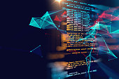 Programming code abstract technology background of software developer and  Computer script on silhouette of