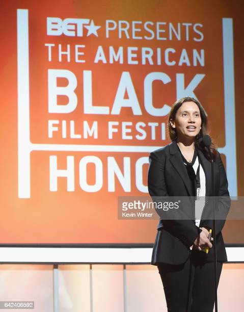 Programming Director Melanie Sharee speaks onstage during BET Presents the American Black Film Festival Honors rehearsals on February 17 2017 in...