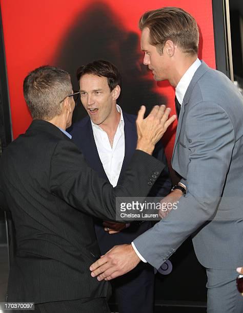 HBO Programming President Michael Lombardo actor Stephen Moyer and actor Alexander Skarsgard arrive at HBO's 'True Blood' season 6 premiere at...
