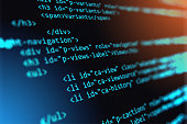 Creative abstract PHP web design, internet programming HTML language and digital computer technology business concept: 3D render illustration of the macro view of software source code on screen monito
