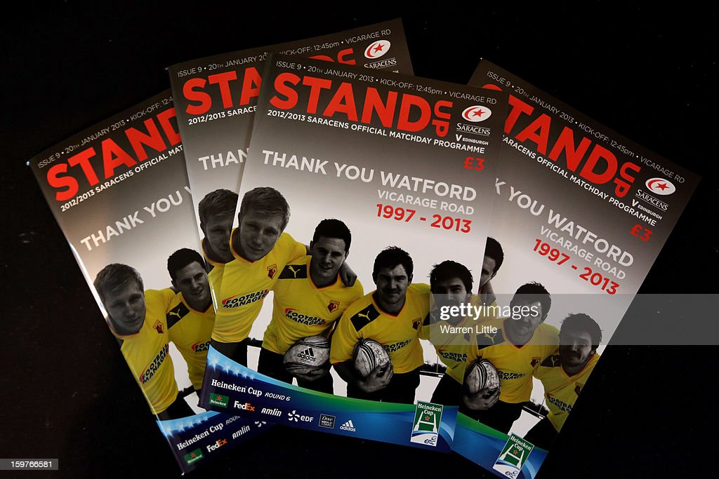 Programs are pictured during the Heineken Cup match between Saracens and Edinburgh Rugby at Vicarage Road on January 20, 2013 in Watford, England.