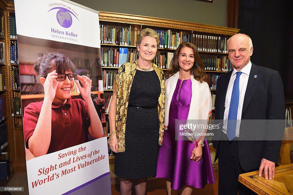 SVP Programs HKI Victoria Quinn honoree Melinda Gates and honoree Dr David Nabarro attend as Helen Keller International celebrates their centennial...