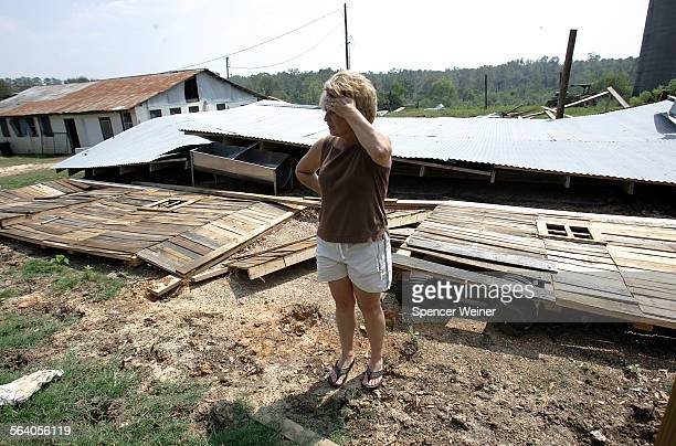 Progress Miss – Mississippi dairy farmerJamie Mauthe with one of her damaged barns Sept 21 2005 Jamie and her husband Kenny Mauthe's oldest daughter...
