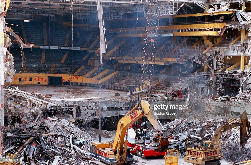 Progress of the demolition of the old Boston Garden continues A view as seen from the Central Artery right into the garden showing portions of the...