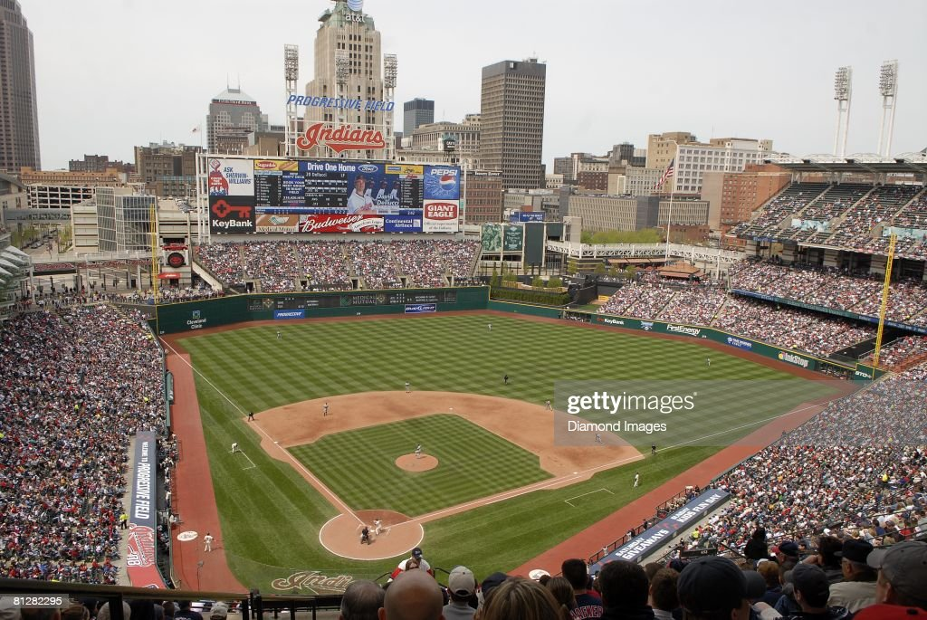 Progressive Field the home ballpark of the Cleveland Indians during a game with the New York Yankees on Sunday April 27 2008 in Cleveland Ohio New...