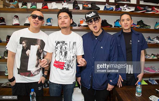 Prohgress JSplif and Kev Nish of Far East Movement and rapper Dumbfoundead attend a meet and greet at Canvas LA on January 18 2014 in Los Angeles...