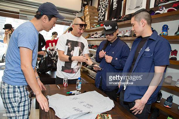 Prohgress JSplif and Kev Nish of Far East Movement attend a meet and greet at Canvas LA on January 18 2014 in Los Angeles California
