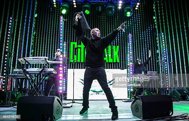 Prohgress Kev Nish and JSplif of Far East Movement perform during Universal CityWalk's 'Music Spotlight Series' at 5 Towers Outdoor Concert Arena on...