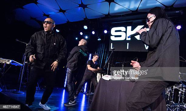 Prohgress Kev Nish and JSplif of Far East Movement perform during SKEE Live at The Conga Room at LA Live on January 14 2014 in Los Angeles California