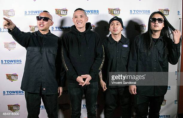 Prohgress Kev Nish DJ Virman and JSplif of Far East Movement attend Universal CityWalk's 'Music Spotlight Series' at 5 Towers Outdoor Concert Arena...