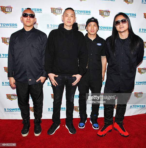 Prohgress Kev Nish DJ Virman and JSplif of Far East Movement pose for a photo during Universal CityWalk's Music Spotlight Concert Series at Universal...