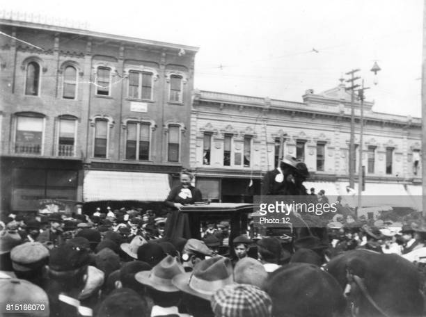 Prohibition advocate Carrie Nation known for smashing up saloons was mocked by students at a rally in 1902 on State street at north university...