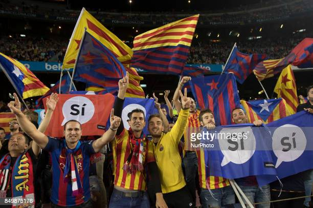 Proindependence banners during the spanish league match between FC Barcelona and Eibar at Camp Nou Stadium in Barcelona Spain on September 19 2017