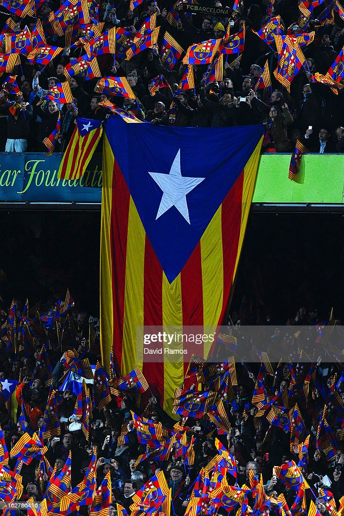 A pro-independence Catalan flag is displayed on the stands during the Copa del Rey Semi Final second leg between FC Barcelona and Real Madrid at Camp Nou on February 26, 2013 in Barcelona, Spain.
