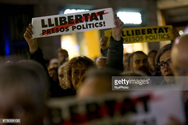 Proindependence demonstrators demonstrate in Barcelona in support of the leaders of social movements in Catalonia imprisoned since October 16 on...