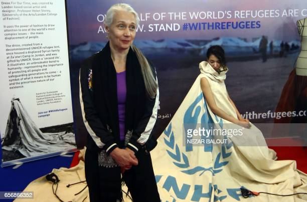 Project ambassador of 'Dress For Our Time' Louise Owen models a UN tent from the Zaatari camp in Jordan that has been converted into a dress by...