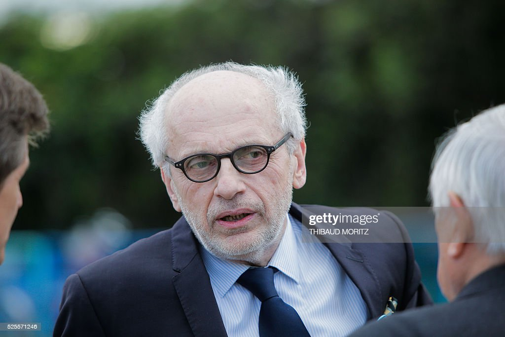 Project creator and property developer Norbert Fradin attends a ceremony of the laying of the first stone of the city's future Museum of the Sea and the Marine (Musee de la Mer et de la Marine) on April 28, 2016 in Bordeaux. / AFP / THIBAUD