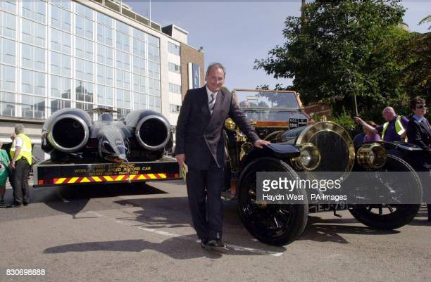 Project Director Richard Noble with his car Thrust 2 in Broadgate Coventry which is a new exhibit for Coventry's Transport Museum shown with a 1910...