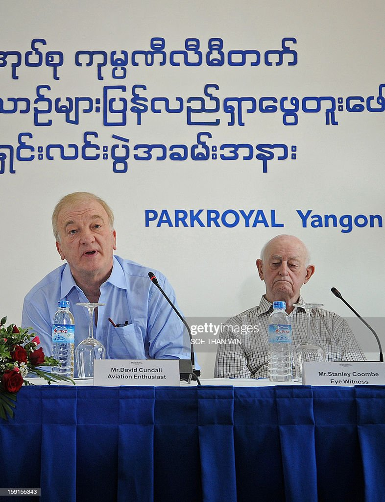 Project leader David Cundall (L) speaks at a press conference on a planned expedition to search for buried British Spitfire planes in Myanmar, at a press conference in Yangon on January 9, 2013 as Stanley Coombe (R), a 91-year-old former British soldier who is one of eight people who said they have seen the buried British Spitfires, looks on. A British-led excavation team hunting for dozens of rare Spitfires in Myanmar said during the press conference on January 9 they were confident of recovering the World War II-era planes after finding a crate buried in the ground. Britain is thought to have buried brand new planes in 1945 as they were surplus by the time they arrived by sea. AFP PHOTO / Soe Than WIN