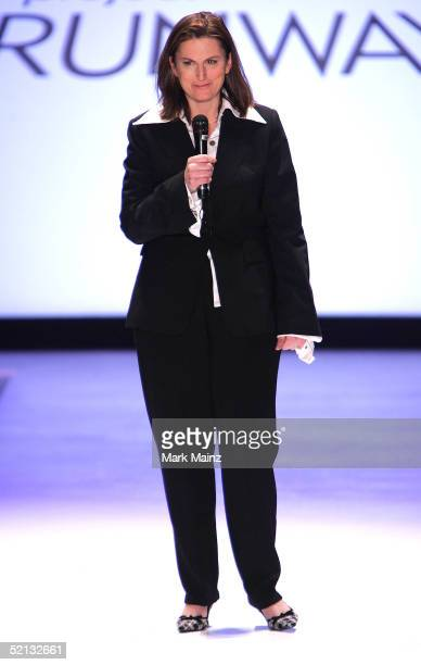 Project Runway designer Wendy Pepper appears on the runway at the Project Runway Fall 2005 show during the Olympus Fashion Week at Bryant Park...