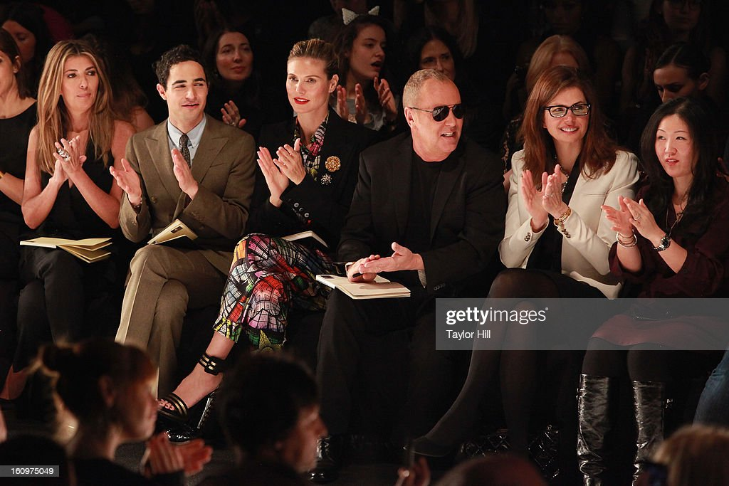 Project Runway judges <a gi-track='captionPersonalityLinkClicked' href=/galleries/search?phrase=Nina+Garcia&family=editorial&specificpeople=592222 ng-click='$event.stopPropagation()'>Nina Garcia</a>, Zac Posen, <a gi-track='captionPersonalityLinkClicked' href=/galleries/search?phrase=Heidi+Klum&family=editorial&specificpeople=178954 ng-click='$event.stopPropagation()'>Heidi Klum</a>, and Michael Kors, and Project Runway executive producers <a gi-track='captionPersonalityLinkClicked' href=/galleries/search?phrase=Desiree+Gruber&family=editorial&specificpeople=592139 ng-click='$event.stopPropagation()'>Desiree Gruber</a> and Jane Cha Cutler attend the Project Runway Fall 2013 Mercedes-Benz Fashion Show at The Theater at Lincoln Center on February 8, 2013 in New York City.