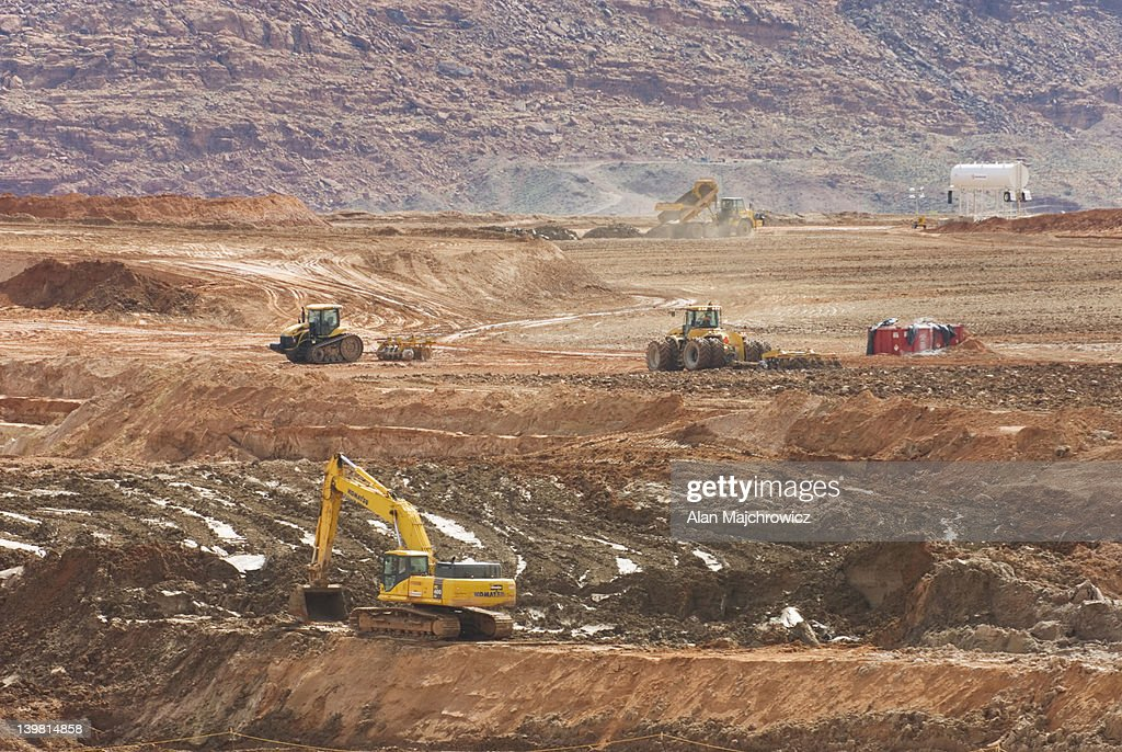 UMTRA Project site along the Colorado River near Moab, Utah, USA. Radioactive uranium tailings are being dug up and moved to another site to avoid leaching into the Colorado River.
