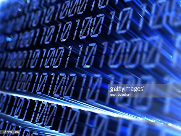Projected blue numbers in binary code
