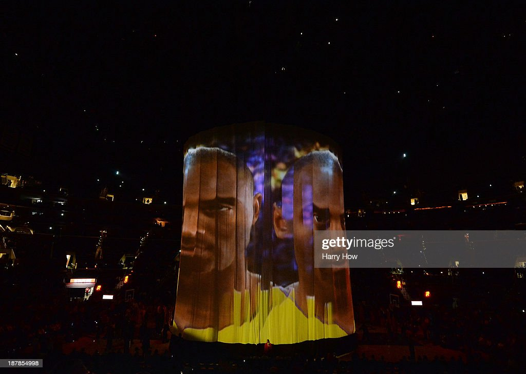 Projected image of Kobe Bryant #24 of the Los Angeles Lakers during team introductions before the game against the New Orleans Pelicans at Staples Center on November 12, 2013 in Los Angeles, California.