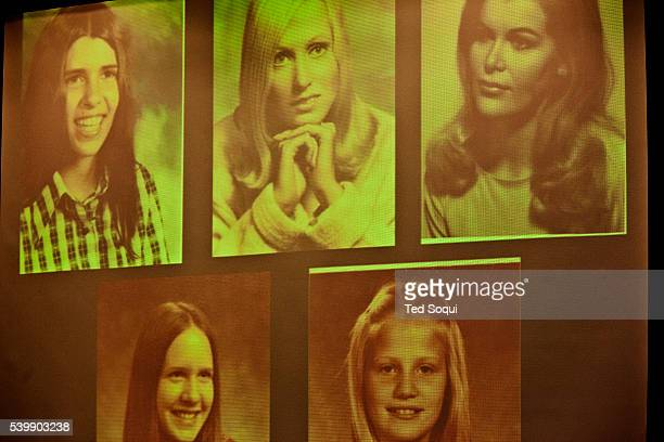 Projected images of Alcala's victims The projection has a green cast the prosecution was unable to fix the color problem with their powerpoint...