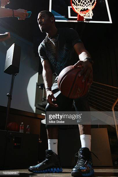 Projected NBA draft pick John Wall speaks to the media during a press conference to unveil his new stateoftheart Reebok basketball shoe ZigTech Slash...
