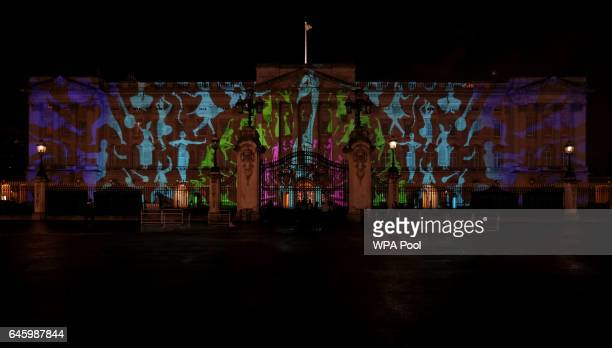 A projection designed by Studio Carrom the Bangalore and Londonbased design studio of a peacock and dancing figures on the facade of Buckingham...