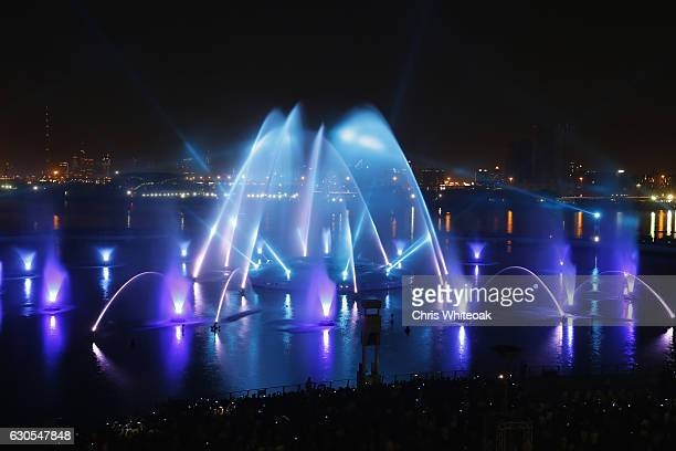 Projection during the premiere of A Show Like No Other Dubai Festival City at Festival Bay on December 26 2016 in Dubai United Arab Emirates