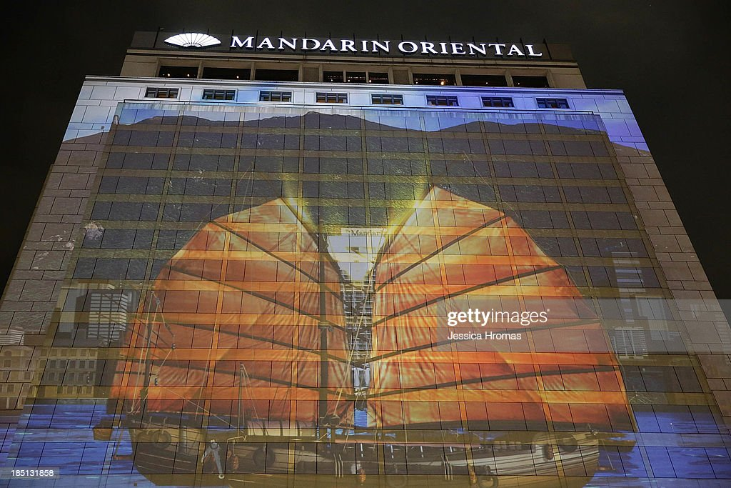A 3D projection on the 26 storey Mandarin Oriental Hong Kong marks its 50th Anniversary Celebration on October 17, 2013 in Hong Kong.