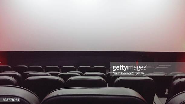 Projection Screen In Empty Movie Theater