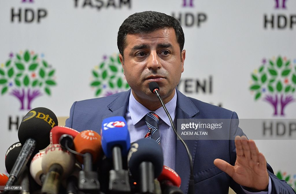 Pro-Kurdish People's Democratic Party (HDP) leader Selahattin Demirtas holds a press conference with his co-chair on Jul 21, 2015 in Ankara, following a suicide bombing the day before at a cultural centre in the southern Turkish town of Suruc which killed 32. A deadly suicide bombing in southern Turkey appears to be part of the Islamic State group's war against the Kurds, and shows the country's growing vulnerability to the conflict in neighbouring Syria, analysts say. The attack on July 21 on a gathering of pro-Kurdish activists in Suruc along the Turkish-Syrian border, which killed at least 32 people, bore the hallmarks of the Sunni extremist organisation. The young victims were preparing for an aid mission to the devastated Syrian town of Kobane, which became a symbol of resistance against the jihadists, who were driven out by Kurdish forces in January.