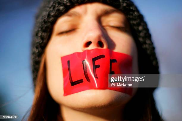 Prolife activist Lynn Jackson with the group Bound for Life protests in front of the US Supreme Court November 30 2005 in Washington DC The highest...