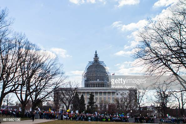 ProLife demonstrators march past the United States Capitol during the annual Youth Rally and Mass for Life hosted by the Archdiocese of Washington on...