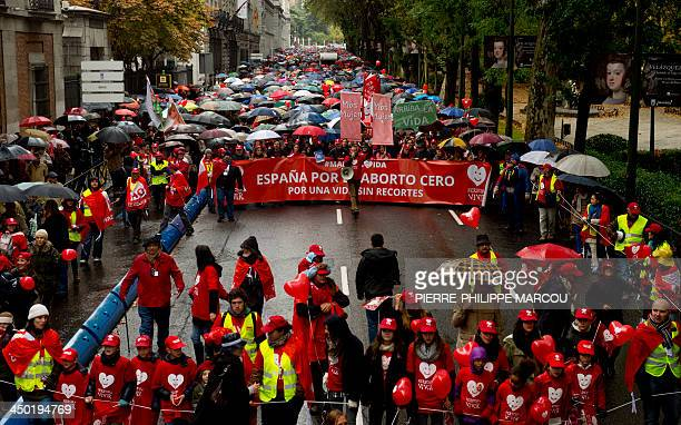 Prolife supporters demonstrate during a march called by antiabortion organization 'Derecho a vivir' in Madrid on November 17 2013 demanding that the...
