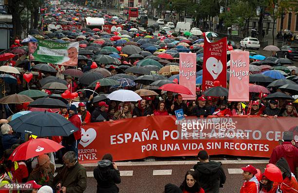Prolife supporters demonstrated during a march called by antiabortion organization 'Derecho a vivir' in Madrid on November 17 2013 demanding that the...