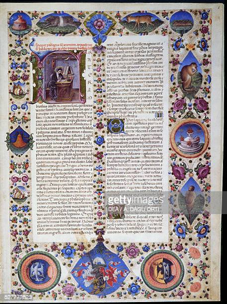 Prologue from the first volume of Bible of Borso d'Este illuminated by Taddeo Crivelli and other authors Latin manuscript 422423 folio 2 v parchment...